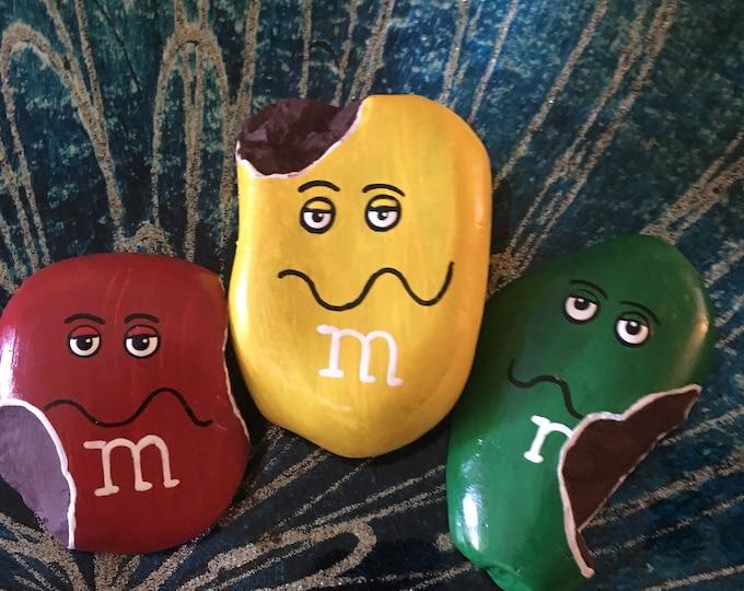 Painted rocks, hand painted rocks, hand painted stones, gifts under 50, m&m painted rocks, hand painted M and M, painted M and M, M and M