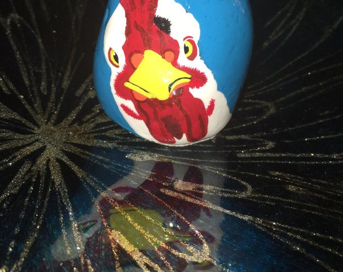 Hand painted rooster, gifts under 50, painted rocks