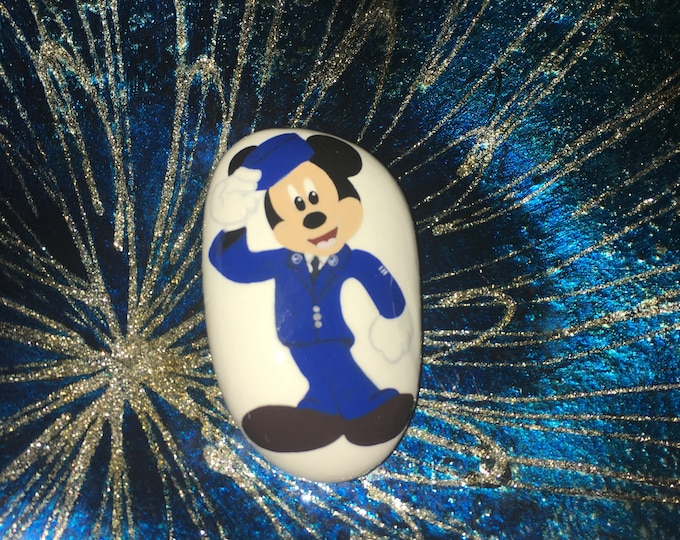 Hand painted Air Force Mickey, Painted rocks, gifts under 50