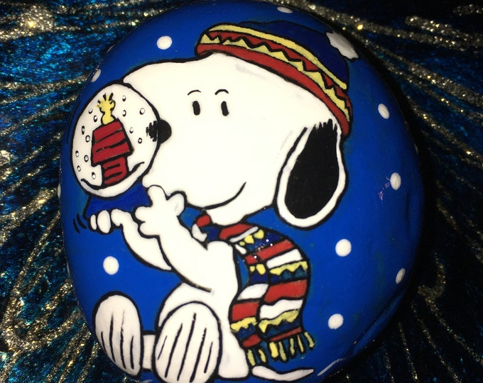 Hand painted Snoopy, Painted rocks, Snoopy, Charlie Brown, gifts under 50, painted pebbles, Christmas decor