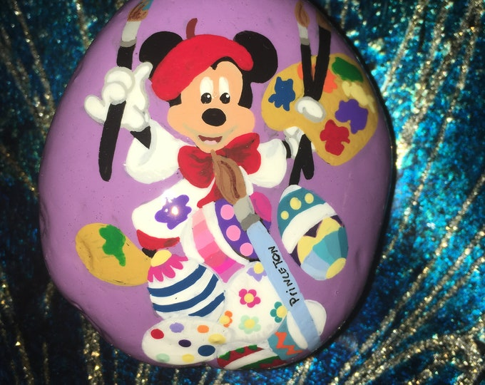 Hand painted Easter Mickey Mouse, Painted rocks, gifts under 50, Disney decor