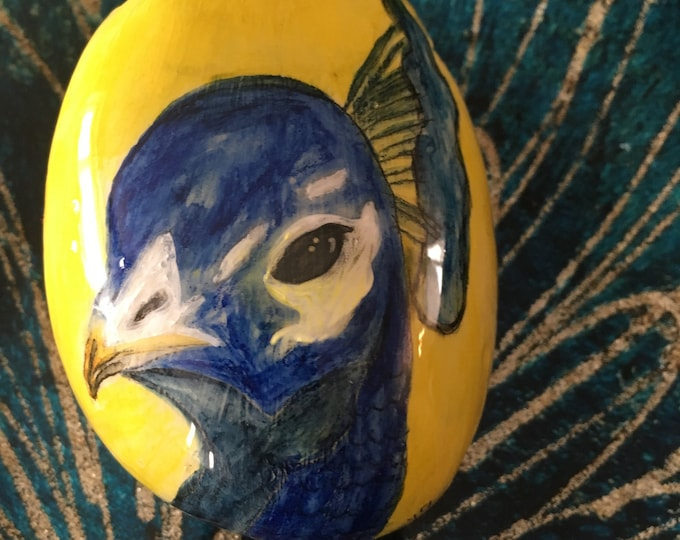 Hand painted peacock, painted rocks, gifts under 50