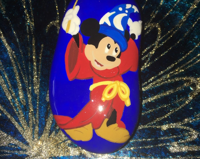 Hand painted Fantasia Mickey Mouse, Painted rocks, gifts under 50