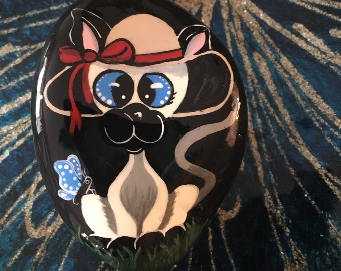 Hand painted cat, gifts under 50, painted rocks