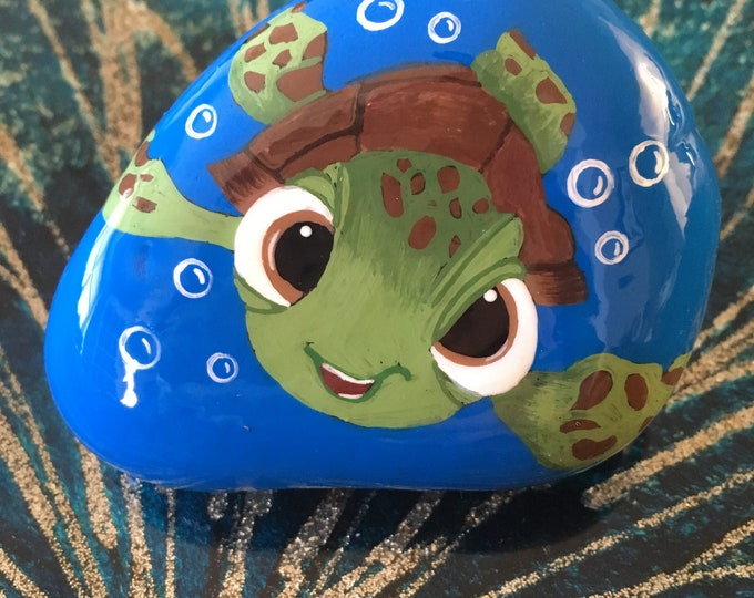 Painted rocks, painted pebbles, painted stone, gifts under 50, Disney rocks, Disney decor, finding Nemo, finding dory, Squirt, rock art