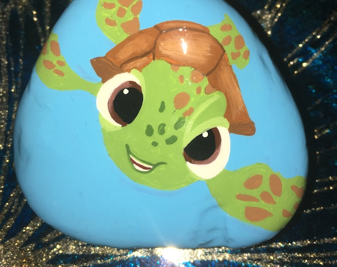 Hand painted Squirt, Painted rocks, gifts under 50
