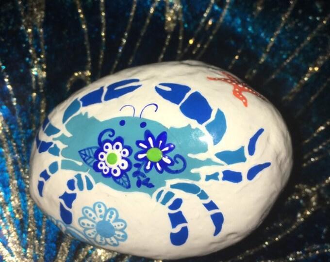 Painted rocks, hand painted rocks, gifts under 50, beach decor, coastal decor, whimsical beach decor, painted blue crab, whimsical blue crab