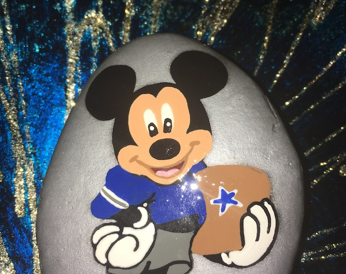 Painted rocks, hand painted Mickey Mouse, NFL themed Disney rocks, gifts under 50, painted rock