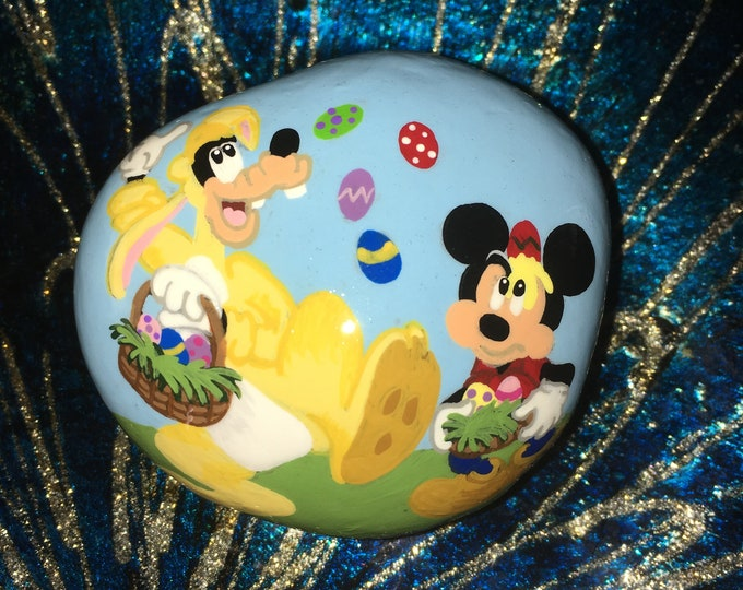Hand painted Mickey and Goofy, Gifts under 50, Easter decor, Painted rocks