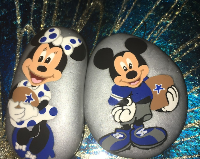 Hand painted Mickey and Minnie NFL football set, gifts under 50, Disney rocks, painted rocks and stones