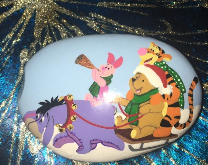 Hand painted Winnie the Pooh, Painted rocks, gifts under 50, Christmas decorations, painted pebbles, painted stone, Pooh bear, pooh