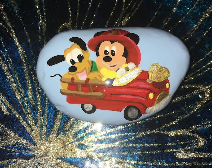 Hand painted Mickey Mouse, Painted rocks, gifts under 50