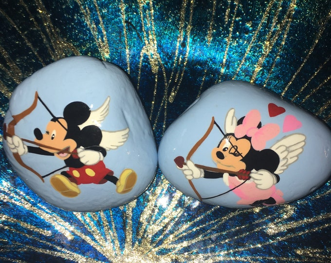 Painted rock, gifts under 50, Disney rocks, Disney decor, Hand Painted rocks, Cupid Minnie and Mickey, Valentines gifts, rock art