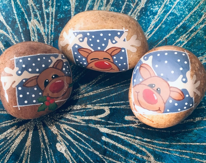 Hand painted reindeer, painted rocks, gifts under 50