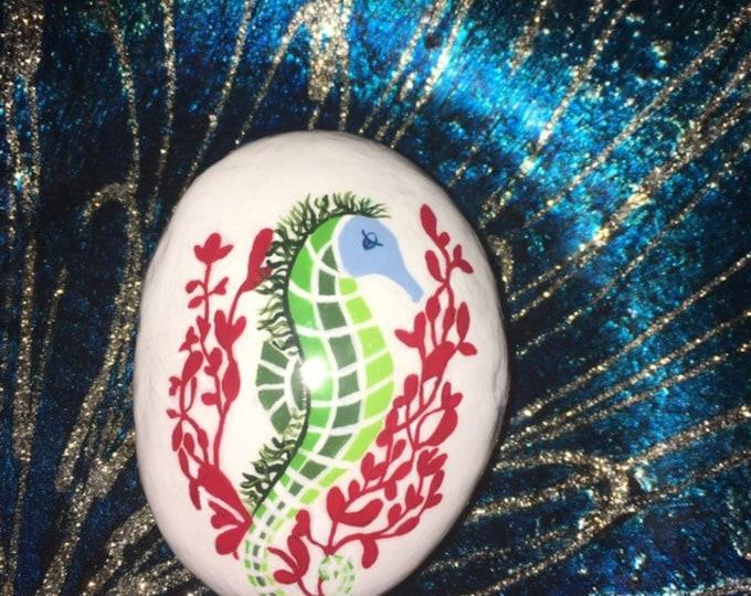 Painted rocks, hand painted rocks, gifts under 50, beach decor, coastal decor, whimsical beach decor, hand painted seahorse, rock art