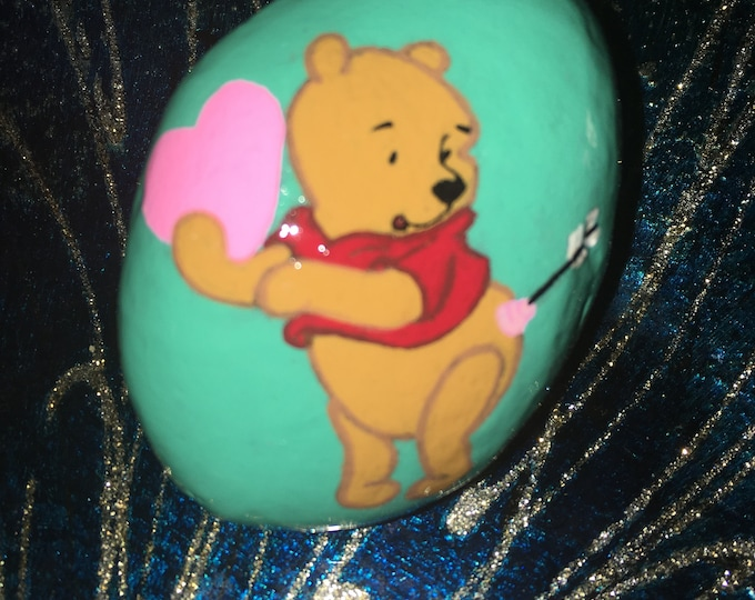 Painted rocks, hand painted rocks, gifts under 50, Winnie the Pooh, Valentines gift, Valentines Winnie, Painted pebbles, Painted stone,