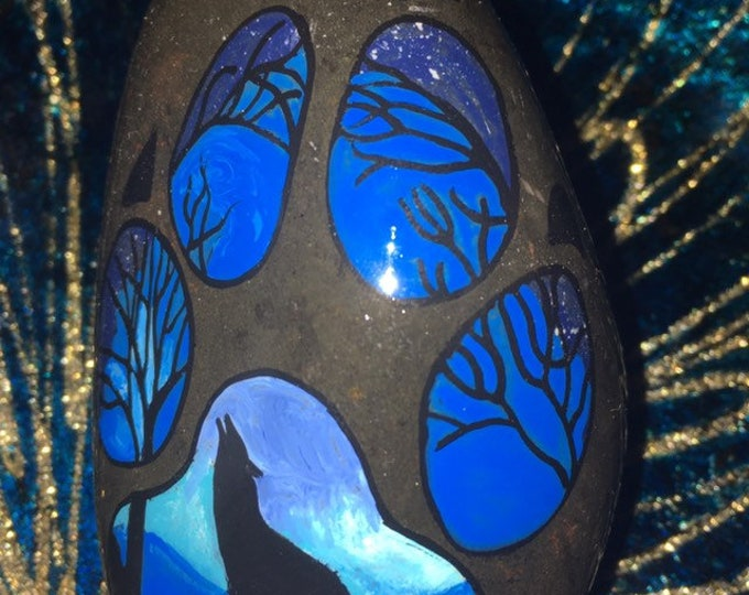 hand painted wolf, painted rocks, gifts under 50