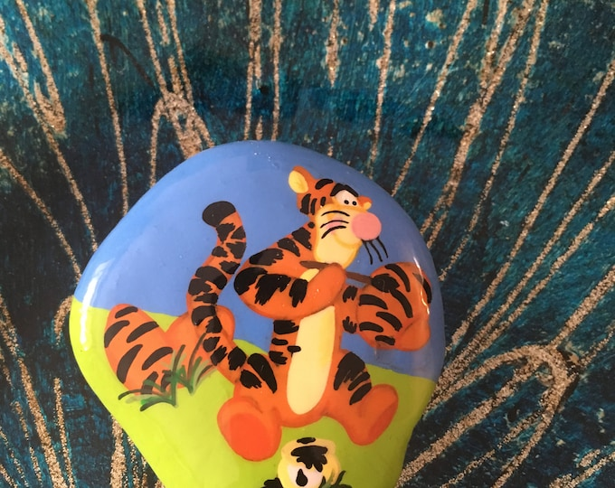 Hand painted Easter Tigger, Painted rocks, gifts under 50, Disney rocks