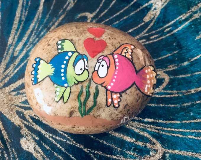 Hand painted fish, gifts under 50, painted rocks, Fish rocks,