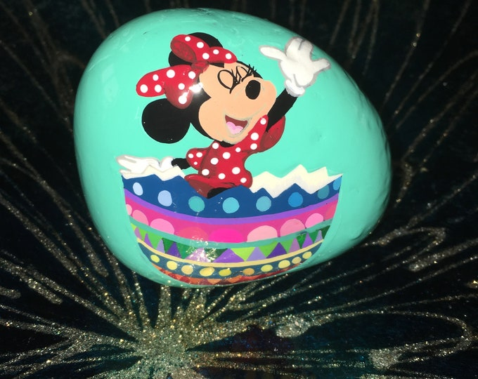 Hand painted Minnie Mouse, Easter decoration, Painted rocks, gifts under 50