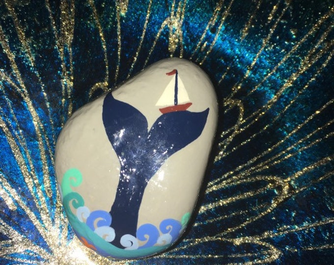 Painted rocks, hand painted rocks, gifts under 50, beach decor, coastal decor, whimsical beach decor, coastal themed rocks, whale rocks