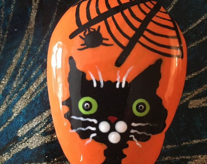Painted rocks, hand painted rocks, gifts under 50, Halloween decor, Halloween rocks, Halloween themed decor, Halloween cats, Black cat