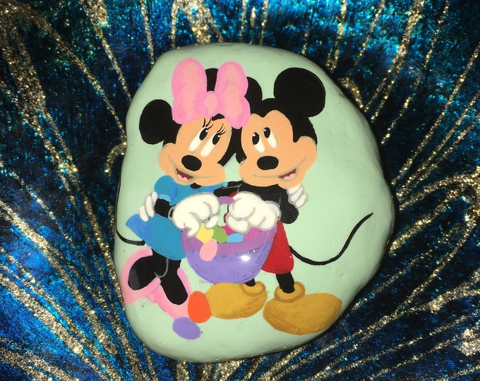 Hand painted Mickey and Minnie, Easter decor, gifts under 50, Disney collectibles, painted rocks