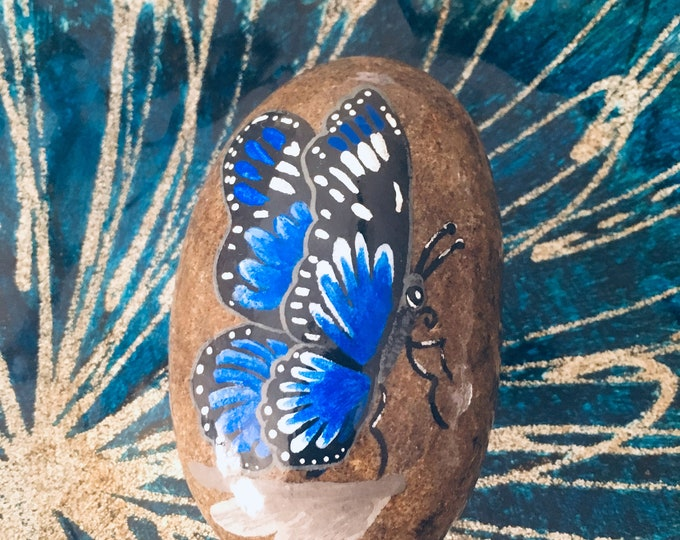 Hand painted butterfly rock, gifts under 50, blue butterfly, painted rocks and stones