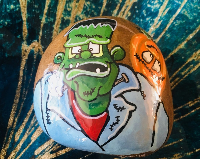painted rocks, gifts under 50, Frankenstein