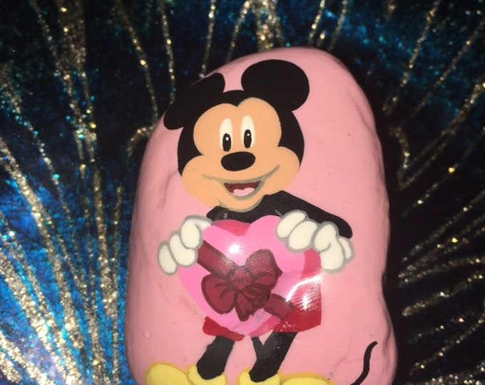 hand painted Mickey Mouse, gifts under 50, painted rocks