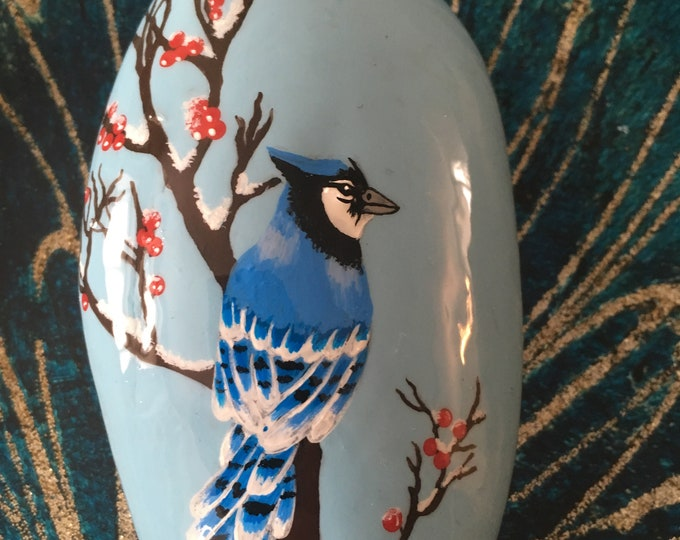 Hand painted Blue Jay, gifts under 50, painted rocks, bird lovers