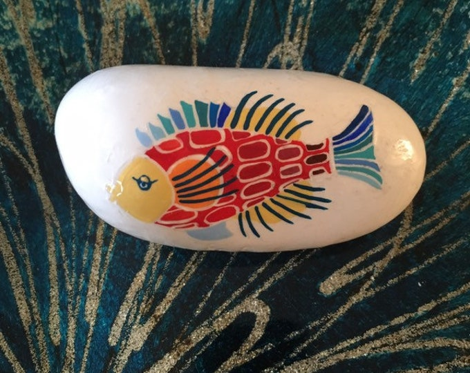 painted rocks, gifts under 50, painted pebbles, beach decor, coastal decor, painted fish, painted sea life, rock art