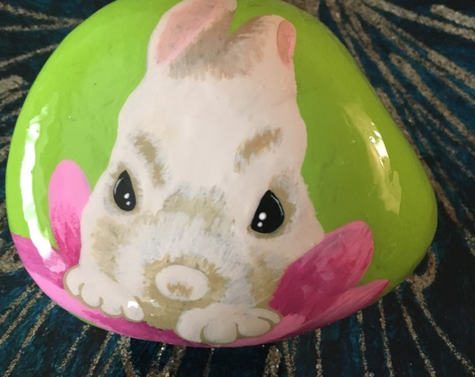 Hand painted bunny, gifts under 50, painted rocks