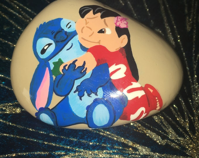Hand painted Lilo and Stitch, Disney rocks, Disney decor, gifts under 50, painted rocks, painted pebbles, painted stone