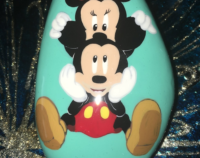 Painted Mickey and Minnie, Painted rocks, gifts under 50