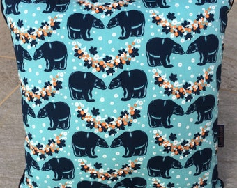 a printed fabric cushion lagoon blue and Navy 36 * 36 cm.