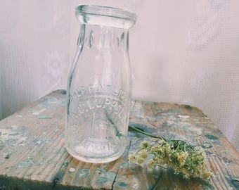 Small Vintage Half Pint Glass Milk Bottle A. C. Luppold Palmy RA, N.Y. Bud Vase