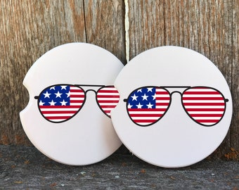 ffe22250915af Custom Sandstone car coasters American flag red white blue sunglasses humor  fun gift for vehicle