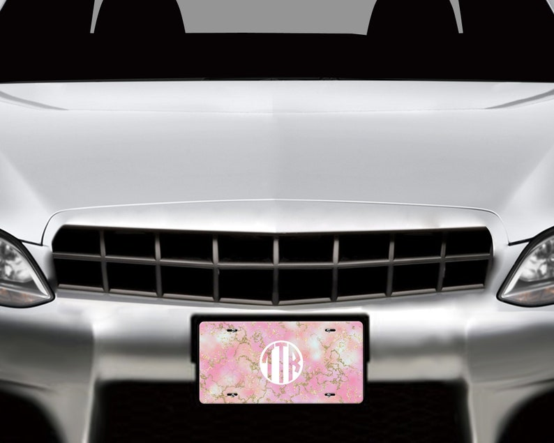 Personalized monogrammed engraved aluminum automobile car tag  gifts customized