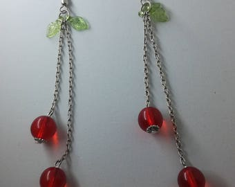 Upcycled Cherry Apple Beaded Dangle Drop Earrings