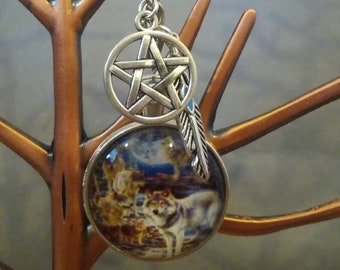 Wolf Dreamcatcher Keychain Witch Spiritual Boho Native American Wolves
