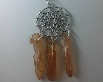 Aura Quartz Dreamcatcher Necklace Crystal Pink Rose Gold