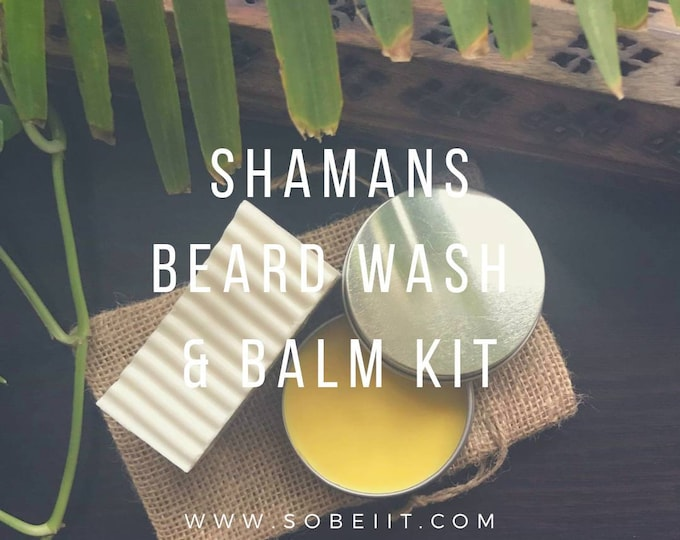 Shamans Beard Wash & Balm Kit, Beard Kit, Beard Care Kit, Beard Soap Kit