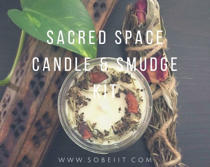 Sacred Space Candle & Smudge Kit, Candle and Smudge Stick Kit, Smudge Kit