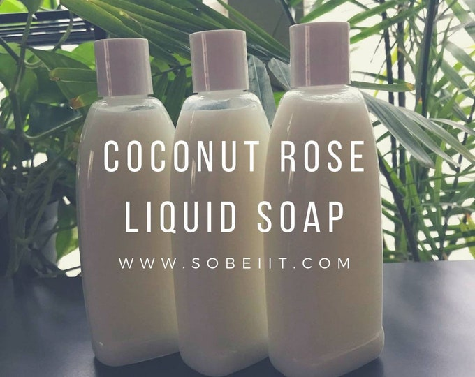 Coconut Rose Liquid Soap 8oz, Hand Soap, Liquid Soap