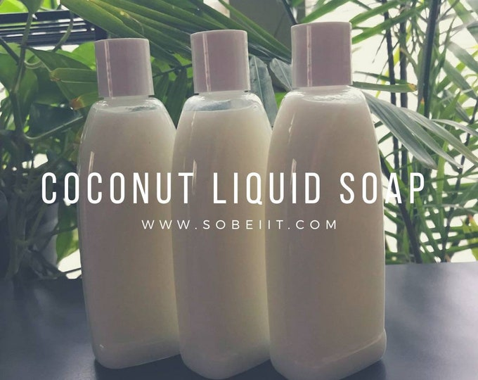 Coconut Liquid Soap Unscented 8oz, Liquid Soap, Liquid Hand Soap
