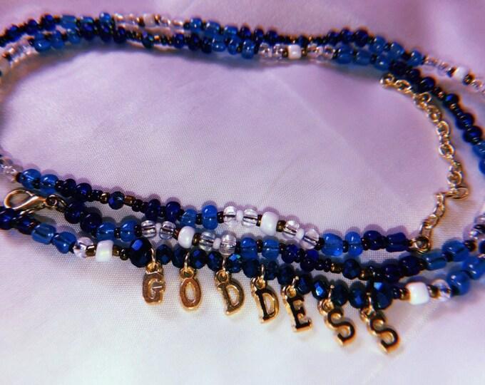 GODDESS Waist Beads, Lettered Waist Beads, Waist Beads, Waist Chain, Belly Beads, Belly Chain