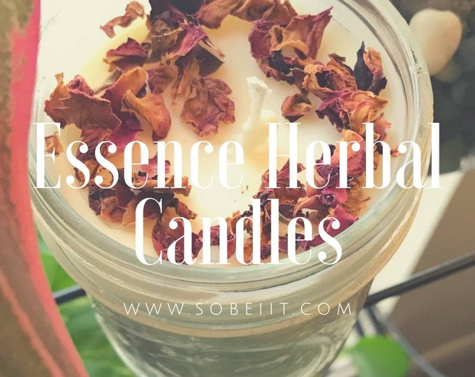 Essence Herbal Candle, Soy Candle, Beeswax Candle, Aromatherapy Candle, Spa Candle, Container Candle, Mason Jar Candle