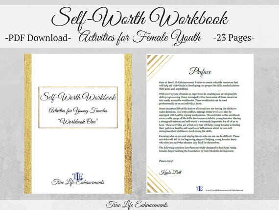 Self Worth Workbook For Female Youth Mental Health Aid Etsy