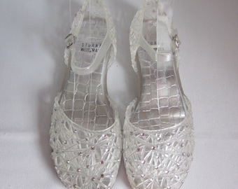 a30d2c057910 1990s Clear Plastic Jellies with Rhinestones by